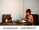 Small photo of Final draft. Senior woman type on retro typewriter. Old woman work in writer office. Journalist work in vintage office. Senior writer at desk. Female reporter or journalist writing on typewriter.