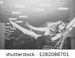 girl in fashionable dress ... | Shutterstock . vector #1282088701