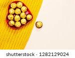 heart box of golden premium... | Shutterstock . vector #1282129024