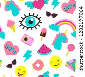 set of stickers 80's in the... | Shutterstock . vector #1282197064