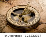 old compass on vintage map 1752 | Shutterstock . vector #128223317