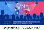 illustration woman listens her...   Shutterstock .eps vector #1282244464
