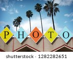 colorful retro photo sign with...   Shutterstock . vector #1282282651