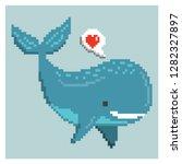 happy whale in pixel art | Shutterstock .eps vector #1282327897