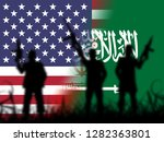 us saudi arabia flags and... | Shutterstock . vector #1282363801