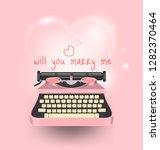 pink typewriter write a message ...   Shutterstock .eps vector #1282370464
