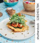 potato fritter stack with...   Shutterstock . vector #1282401784