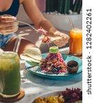 vegetable salad with avocado...   Shutterstock . vector #1282402261