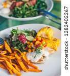 vegetable salad with corn and...   Shutterstock . vector #1282402267