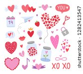 vector hearts and romantic...   Shutterstock .eps vector #1282413547