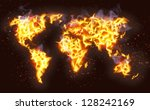 world map illustrated from fire ... | Shutterstock .eps vector #128242169