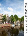 amsterdam   july 10  canals of... | Shutterstock . vector #1282432531