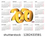 2020 calendar in english uk.... | Shutterstock .eps vector #1282433581