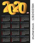 2020 calendar in english. year... | Shutterstock .eps vector #1282433584
