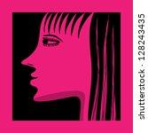 magenta woman profile - stock vector