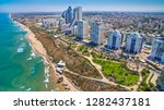 nitza road and the sea of netanya city from above