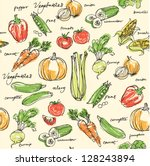 assorted vegetables seamless... | Shutterstock .eps vector #128243894