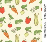 assorted vegetables seamless... | Shutterstock .eps vector #128243909