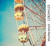 vintage retro ferris wheel on... | Shutterstock . vector #128244125