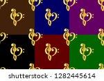 golden heart   violin and bass... | Shutterstock .eps vector #1282445614