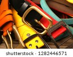 collection of leather belts on... | Shutterstock . vector #1282446571