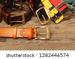 collection of leather belts on... | Shutterstock . vector #1282446574