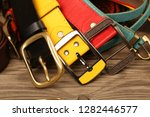 collection of leather belts on... | Shutterstock . vector #1282446577