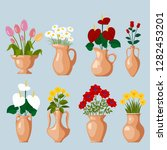 set of clay vases with blooming ... | Shutterstock .eps vector #1282453201