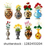 set of old antique amphoras... | Shutterstock .eps vector #1282453204