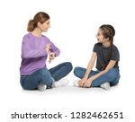 hearing impaired mother and her ... | Shutterstock . vector #1282462651