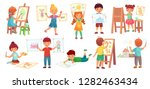 drawing children. kid... | Shutterstock .eps vector #1282463434