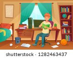 student bedroom. teenager read... | Shutterstock .eps vector #1282463437