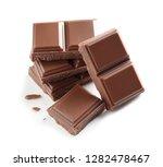 pieces of tasty milk chocolate... | Shutterstock . vector #1282478467