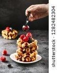 belgian waffles for breakfast....   Shutterstock . vector #1282482304