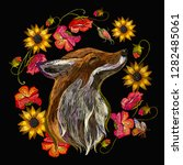 embroidery red fox and flowers. ... | Shutterstock .eps vector #1282485061