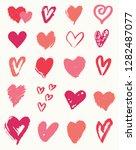 a set of 20 hand drawn heart... | Shutterstock .eps vector #1282487077