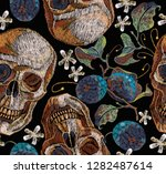 embroidery skulls and grapes.... | Shutterstock .eps vector #1282487614