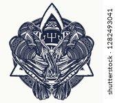 two celtic ravens tattoo.... | Shutterstock .eps vector #1282493041