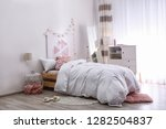 modern teenager room interior... | Shutterstock . vector #1282504837