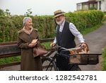 1940s delivery man and house... | Shutterstock . vector #1282542781