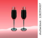 two wine glasses filled with... | Shutterstock .eps vector #1282554337