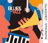 jazz music festival poster with ... | Shutterstock .eps vector #1282559791