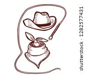 cowboy hat bandana and whip.... | Shutterstock .eps vector #1282577431