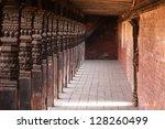 wooden pillars in the old city  ... | Shutterstock . vector #128260499