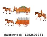 wild west covered wagons and... | Shutterstock .eps vector #1282609351