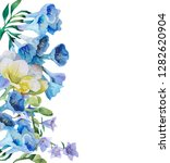 botanical watercolor frame of... | Shutterstock . vector #1282620904