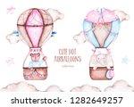 watercolor cute hot air...   Shutterstock . vector #1282649257