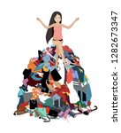 nothing to wear concept  young...   Shutterstock .eps vector #1282673347