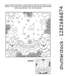 Stock vector valentine s day february connect the dots picture puzzle and coloring page with hidden text two 1282686874
