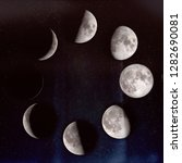 Small photo of Phases of the Moon: waxing crescent, first quarter, waxing gibbous, full moon, waning gibbous, third guarter, waning crescent, new moon. On a starry sky. The elements of this image furnished by NASA.